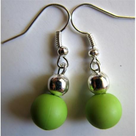 Bcles d'oreilles anis et perle argentée