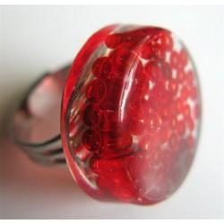 Bague perles rouges