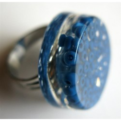 Bague perles bleues