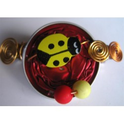 Barrette 58 mm rouge coccinelle jaune