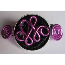 Barrette 58 mm violette fils fuchsias