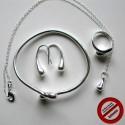 Parure goutte : Boucles d'oreilles, bague, bracelet et collier (Attention produit non artisanal)