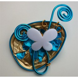 Broche papillon turquoise et or