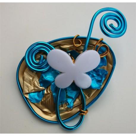 Broche papillon turquoise et or