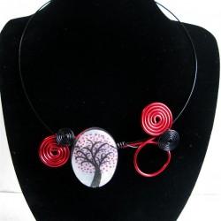 """Collier """"arbre à coeur"""" rouge et noir"""