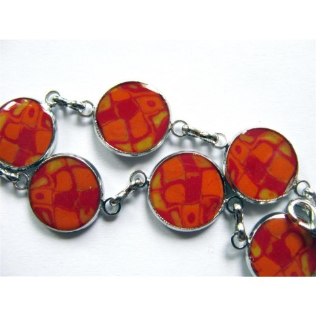 Bracelet fimo couleurs chaudes