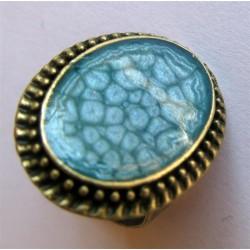 Bague prisme ovale couleur bronze travaillé