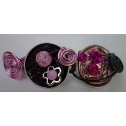 Barrette rose poudre et noire 10 cm