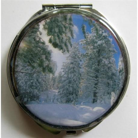 """Miroir de poche """"payasage de neige"""""""