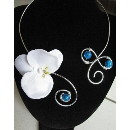 collier orchidée turquoise