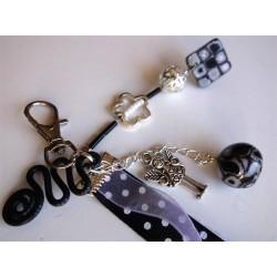 Porte clé bijou de sac black & white