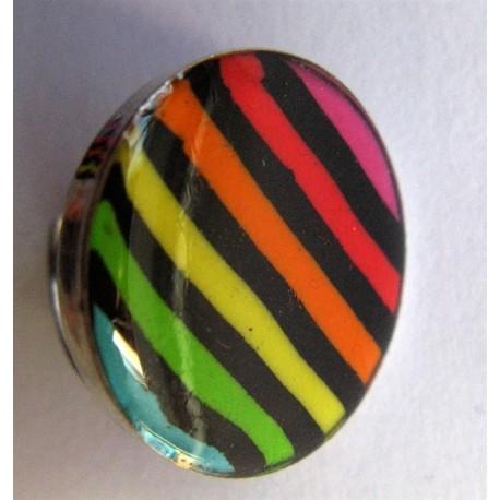 "Grosse bague Fimo ""rayé multicolore"""