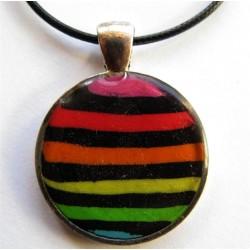 """Pendentif Fimo """"rayé multicolore"""""""