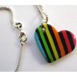 "Pendentif coeur Fimo ""rayé multicolore"""