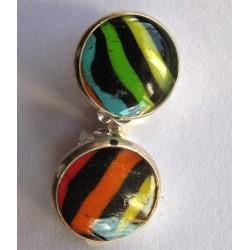 """Boucles clips Fimo """"rayé multicolore"""""""