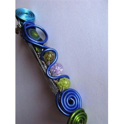 "Barrette ""bleue et verte"" 10 cm"