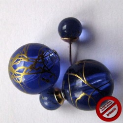 """Boucles d'oreilles """"doubles bleu nuit"""" (Attention produit non artisanal)"""