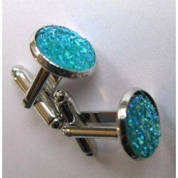 Boutons de manchettes trass turquoise
