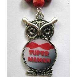"Bijou de sac ""chouette"" :super maman (noeud rouge)"