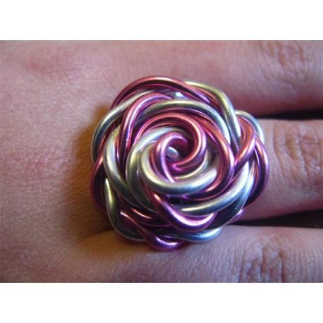 Bague Fleur Alu Rose Et Argent Creations De Claire