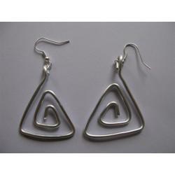Boucles d'oreilles fil alu argent triangle