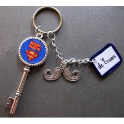 """porte clé """"super maître"""" à personnaliser"""