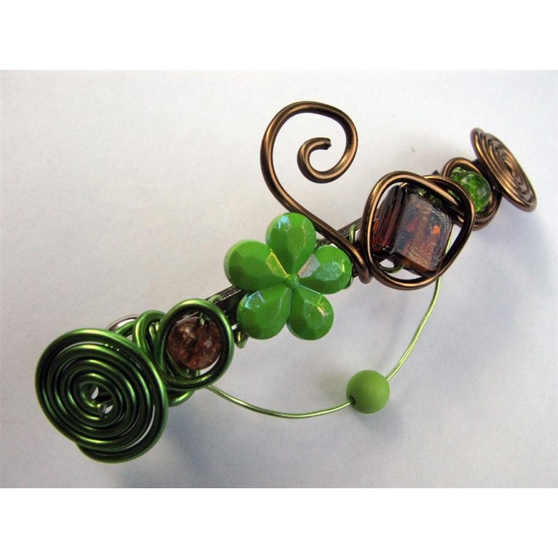 Barrette cheveux vert anis et marron cr ations de claire - Vert anis marron ...