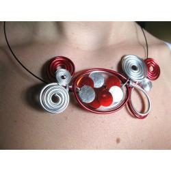Collier perle résine handmade rouge et argent