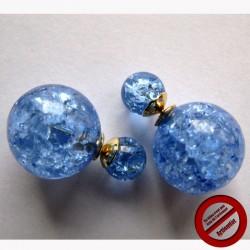 """Boucles d'oreilles """"double sphères bleues"""" (Attention produit non artisanal)"""