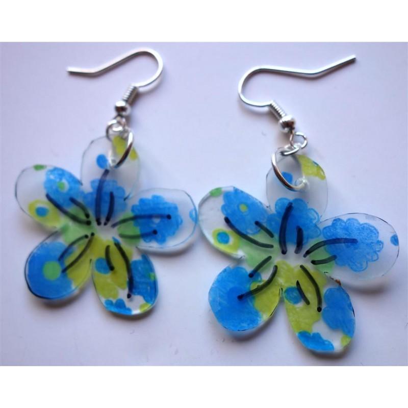 Connu Boucles d'oreilles fleur plastique dingue - Créations de Claire AS47