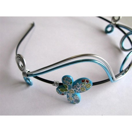 Serre-tête perles turquoise et argent