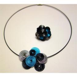 Collier multitorsades turquoise gris et noir