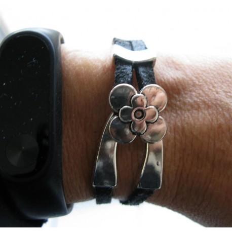 Bracelet cuir fermoir fleur