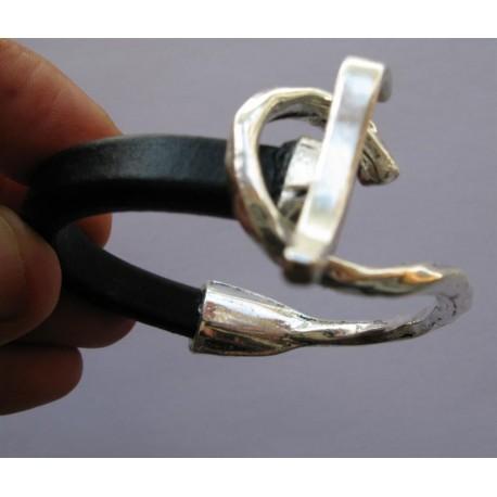 Bracelet mi cuir large, mi métal argenté