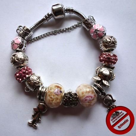 Bracelet souple strass roses (Attention produit non artisanal)