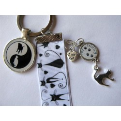 "Porte-clés ""minou black & white"""