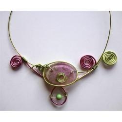 Collier anis et rose avec perle résine handmade