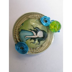 Broche fillette turquoise