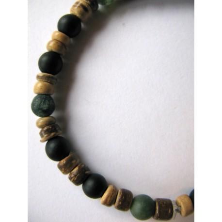 Bracelet en pierres fines (agate) et noix de coco