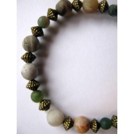 Bracelet en pierres fines (agate) et perles couleur bronze