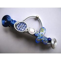 """Barrette """"papillon bleu"""" 10 cm"""