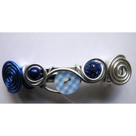 Barrette bleu vichy 74 mm