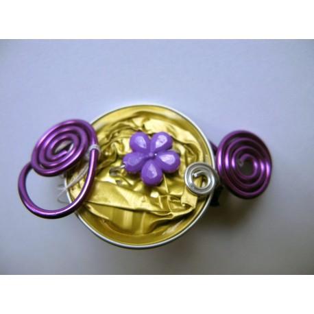 Barrette 50 mm violette et dorée