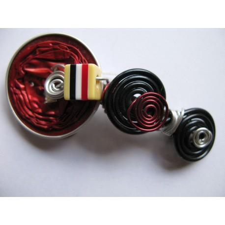 Barrette 60 mm rouge et noire