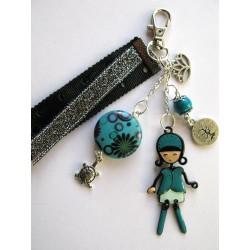Bijou de sac bleu-vert fillette