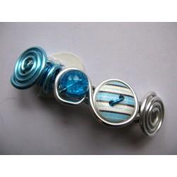 Barrette turquoise avec perle en verre