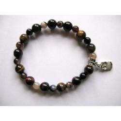 Bracelet en pierres fines (agate) et breloque cadenas