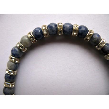 Bracelet en pierres fines (agate bleue)