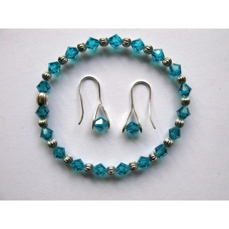 Bracelet en perles à facettes turquoise