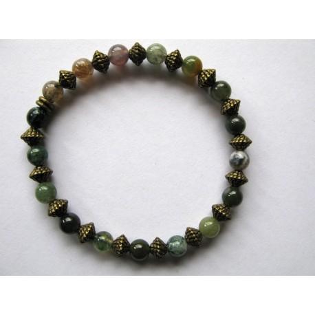 Bracelet en pierres fines (agate dans les tons de vert)